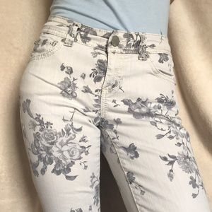 White and gray floral jeans